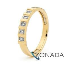 New Classic Natural Diamond Set Eternity 9k 9ct Solid Yellow Gold Journey Rings