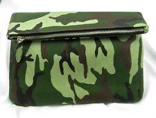 Fold over leather clutch pouch handbag YKK zipper Green camouflage