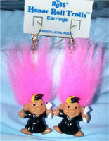 Russ Retired-HONOR ROLL TROLL EARRINGS-Teacher Graduation Novelty Jewelry-PINK