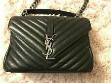 AUTHENTIC YSL YVES SAINT LAURENT MEDIUM COLLEGE BAG IN BLACK LEATHER