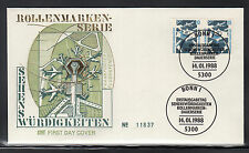 A 001 ) Germany 1988 FDC  - German Attractions  Frankfurt Airport TOGETHER