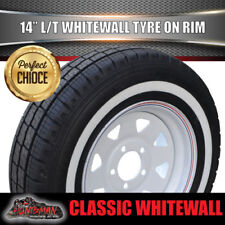 14 X 6 185 LT White Sunraysia Rim & Whitewall Tyre suits Ford. Caravan Trailer