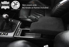 BLACK STITCH REAL SUEDE GEAR HANDBRAKE & ARMREST COVER FITS BMW E46 1999-2005