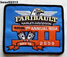 HARLEY DAVIDSON 2009 7th FARIBAULT MINNESOTA DEALER MDA ANNUAL RIDE VEST PATCH