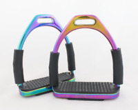 4.75 Inch Rainbow Horse Flexible Safety Saddle Stirrups Bendy Iron Stainless