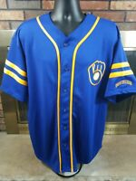 Vintage Milwaukee Brewers MLB Baseball Jersey Men XL Blue Cooperstown Collection