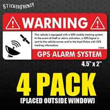 GPS 4 pk Anti Theft STICKER Vehicle Security Alarm Decal Car Truck Vinyl FS002