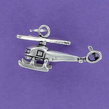 Helicopter Sterling Silver Charm for Bracelet Whirlybird Chopper Copter Rotor 3D