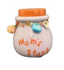"Mom's Stash 4.5""h x 4""d Jar Pottery Lidded Jar Bank Money"
