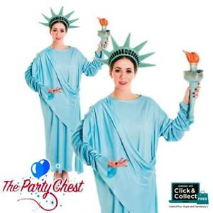 Ladies Statue of Liberty Costume Adults American Novelty Fancy Dress USA Outfit