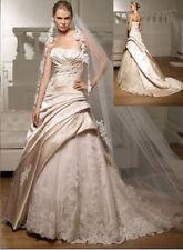 Champagner Satin Spitze Mermaid Hochzeitskleid Brautkleider Gr34 36 38 40 42 44+
