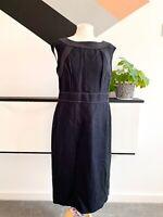 JAEGER Dress Size 14 BLACK | SMART Occasion WEDDING Cruise RACES LINEN SILK