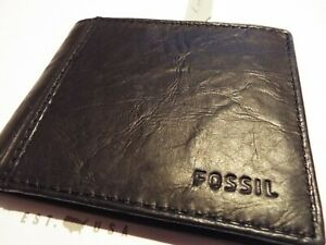 BNWT Mens Fossil ML3254001 Black Ingram Traveler Leather Wallet RRP£39
