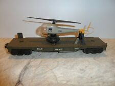 LIONEL O SCALE VINTAGE U.S.M.C. FLAT CAR WITH U.S.M.C.  HELICOPTER