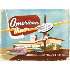 Blechschild 23154 - American Diner - Time To Eat - 30 X 40 cm - Neu