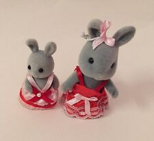 2 x Sylvanian Families Grey Rabbit Bridesmaid Figures SIGNED FOR Postage