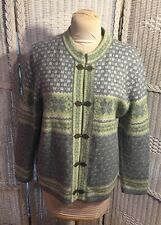 Susan Bristol XL Fair Isle 100% Wool Cardigan sweater jacket EUC