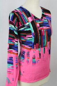 Damen Pullover Pulli Oberteil pink abstakt Glitzer Viskose OVANTI Gr.42