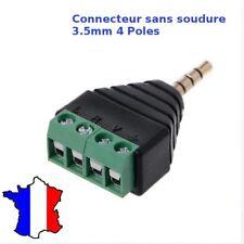 CONNECTEUR 4 PÔLES 3.5MM STÉRÉO JACK MALE -SANS SOUDURE- AUDIO CASQUE ÉCOUTEURS