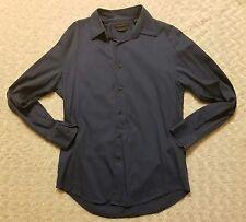 Axist Mens Modern Fit Solid Navy Blue Button Down Longsleeve Shirt Size Medium