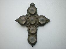 RARE Medieval White Glass Stones PENDANT CROSS 16 - 17 century AD Wearable#