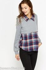 Grey jumper with a check shirt attached.  Size 12 BNWT