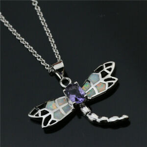 Beautiful Dragonfly White simulated Opal Purple Cz Pendant Necklaces Jewelry