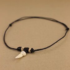 Shark Tooth Surfer Necklace with Black White Coco Beads on Adjustable Slide Cord