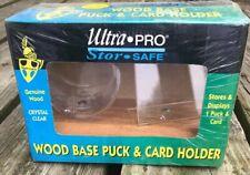Ultra Pro Puck & Card Holder. Dark Wood Display Series. Genuine Wood Ultra Clear