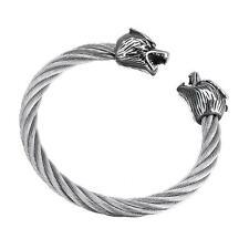 Uomo: gioielli in acciaio INOX TWISTED Cavo WOLF Bracciale Tono Argento