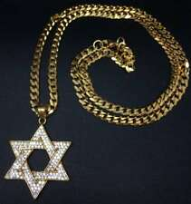 """Hip-Hop Jewelry - Iced Out Star of David Pendant w/ 24"""" Curb Chain Necklace"""