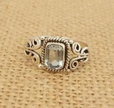 Ethnic Blue Topaz 925 Silver Ring UK Size Q-US Size 8 1/4 Indian Jewellery