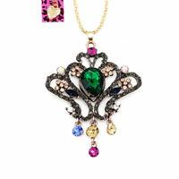 Betsey Johnson Crystal Rhinestone Retro Crown Pendant Sweater Chain Necklace