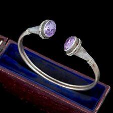 Antique Vintage Deco 925 Sterling Silver Etruscan Amethyst Cuff Bracelet 16.8g
