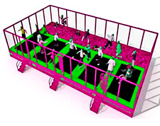 1,125 sqft Commercial Trampoline Park Dodgeball Climb Gym Inflatable We Finance