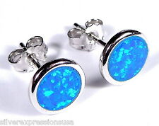 8mm Round shape Blue Fire Opal Inlay 925 Sterling silver stud post earrings
