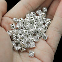 100 Pcs Silver Plated Crystal Rhinestone Loose Spacer Beads For Jewelry Making