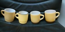 4 Yellow Fire King Mugs, 2 Brown Bottoms, 2 Others Different, Vintage Depression