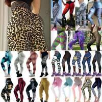 Women Yoga Pants Elastic Fitness Sport Leggings High Waist Print Running Trouser