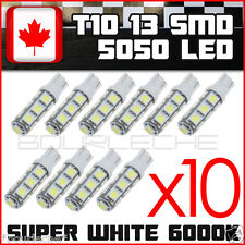10x Pure White T10 Camper 13-SMD 5050 Car Side Wedge LED Light Bulbs interior