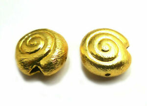 70 PCS 12X6MM SHELL SPACER  BRUSHED BEAD 18K GOLD  PLATED 797 ONO-236