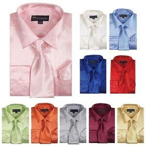 Men's Shiny Silky Satin Dress Shirt w/ Tie & Hanky Set #08 ~ Free Shipping