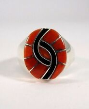 Zuni Sterling Silver Handmade Coral Inlay Ring - Amy Quandelacy