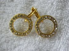 "MARIANA GOLD PLATED LEVERBACKCLEAR  SWAROVSKY CRYSTAL EARRINGS 3/4"""