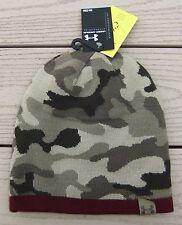 NWT UNDER ARMOUR UA 2-Way Mens Reversible Camo Knit Beanie Hat-OSFM @$30 MAROON