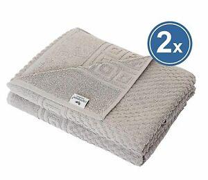 2 X Shower Towel Terry 70x140 Grey 100% Cotton Griechenbordüre & Waffle Pattern