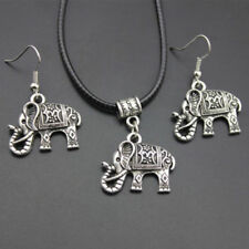 Tibet Silver Chinese Style Elephant Necklace Pendant Earrings Hook Jewelry Set