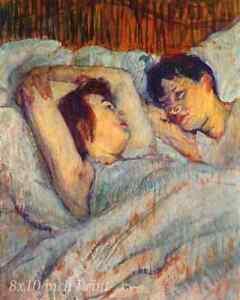 In Bed (2) by Henri de Toulouse Lautrec - Lovers Women Lesbian 8x10 Print 1477