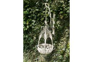 Small Hanging Basket Antique Cream Metal Plant Basket 535