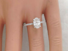1.47Ct Genuine Natural Oval Shape Diamond Engagement Ring, Solid 14K White Gold